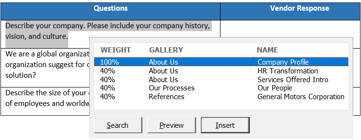 Best Excel RFP response using ready made content from the Content Portfolio library
