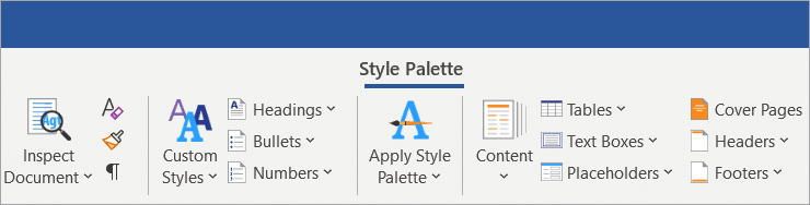 Style Palette Ribbon stores custom styles for sales proposals